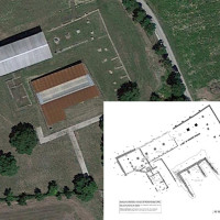 Fig. 1. View of the site 'La Cuma' (satellite image of 22.05.2016, from Google Earth) and the planimetry of the archaeological findings in their present state (elaboration made by Prof. Enrico Giorgi and Dr. Francesco Belfiori, Department of History and Cultures, University of Bologna).