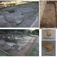 "Fig. 3: A-B-C Survey areas of the first excavation season of the University of Bologna (2017); D: stamp ""Iovei Sacrum"" on black glazed cup; E: terracotta horse head relating to a continuous frieze from the area of the main temple."