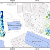 Fig. 16. GPR survey in Piazza Ventidio Basso (depth of the slice-map: 0.60-0.80 m): on right, overlapping with an archival document (from Sestili, Torsani 1995) which attested in the medieval period the presence of structures in correspondence of some radar reflections (by F. Boschi).