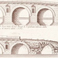 Fig. 16. Bridge of Augustus and Tiberius. The status of the bridge before and after the 17th century restorations. Engraving by M.A. Marinario in 1680 (detail) (from Brigliadori 2006, document n° 98).