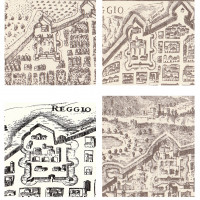 Fig.3: Four images of the Citadel of Reggio Emilia; note the semi-elliptical anomaly in the western side of it. In clockwise order: Francesco Valegio 1590; Anonymous 1599; Anonymous 1627; Anonymous 1751.