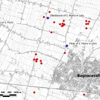Fig. 3. The red diamonds correspond to early and high medieval rural sites located around Bagnacavallo, RA (Image elaborated starting from Fig. 2, in Cavalazzi et al., in press).